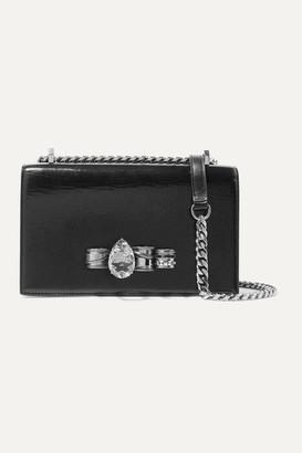 Alexander McQueen Jewelled Satchel Embellished Textured-leather Shoulder Bag - Black