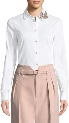 RED Valentino Bead-Embellished Poplin Blouse
