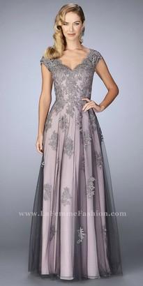 La Femme Cascading Floral Applique Two Tone Evening Dress $598 thestylecure.com