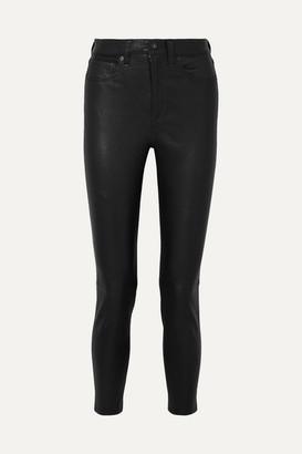Rag & Bone Nina Cropped Skinny Leather Pants - Black