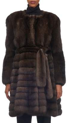Gorski Belted Vertical Sable Fur Stroller Coat with Horizontal Flare Skirt
