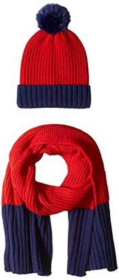 Orchid Row Women's Casual Color Block Knit Beanie Knit Scarf Cold Weather Set /Navy O/S