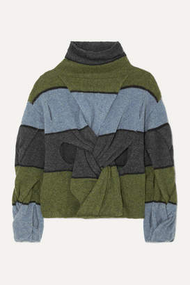 J.W.Anderson Cutout Twisted Striped Wool Turtleneck Sweater - Army green