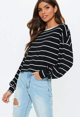 Missguided Black Drop Shoulder Boxy All Over Stripe Top