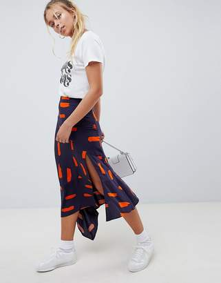 Asos Design Asymmetric Hem Midi Skirt In Minimal Brush Print