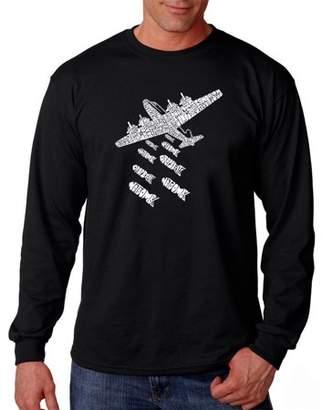 Pop Culture Los Angeles Pop Art Big Men's Long Sleeve T-Shirt - Drop Beats Not Bombs