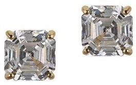 Diamonique 2.00 ct tw Asscher Stud Earrings, 14K Gold