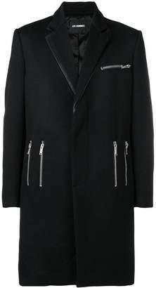 Les Hommes zip detail single breasted coat