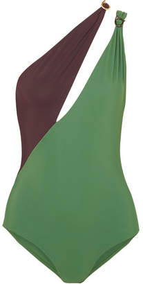 Marios Schwab On The Island By Double Boa Cutout One-shoulder Swimsuit - Dark green