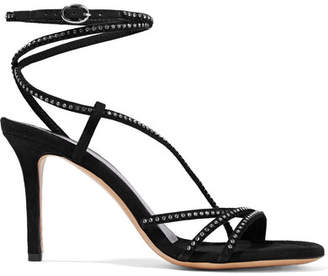 Isabel Marant Ampsee Crystal-embellished Suede Sandals - Black