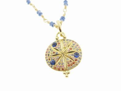 Temple St.Clair Sorcerer's Pendant with Mixed Sapphires on Blue Sapphire Karina Chain