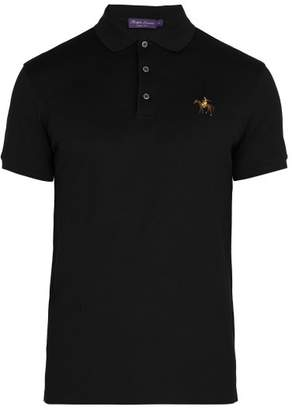Ralph Lauren Purple Label Logo Embroidered Cotton Pique Polo Shirt - Mens - Black