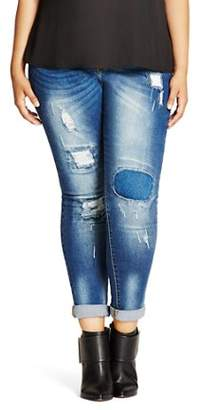 City Chic Plus Harley Distressed Patched Skinny Jeans in Denim