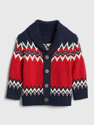 Gap Fair Isle Shawl Cardigan Sweater