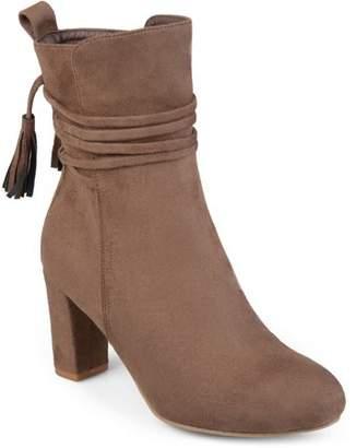 Brinley Co. Womens Faux Suede Wrap Strap Tasseled Booties