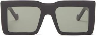 Loewe Logo Engraved Square Acetate Sunglasses - Womens - Black