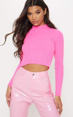 PrettyLittleThing Hot Pink High Neck Knitted Rib Top