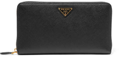 prada Prada - Travel Textured-leather Continental Wallet - Black