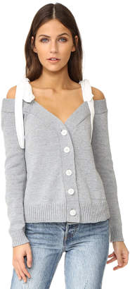 ENGLISH FACTORY Off Shoulder Knit Cardigan With Tie $78 thestylecure.com