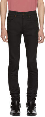 Saint Laurent Black Raw Low-Rise Skinny Jeans