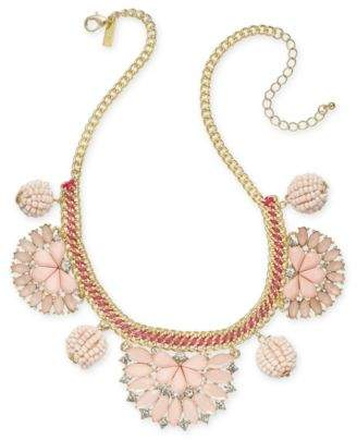 "INC International Concepts I.N.C. Gold-Tone Stone & Crystal Statement Necklace, 18"" + 3"" extender, Created for Macy's"
