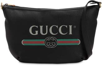Gucci Logo Printed Leather Messenger Back