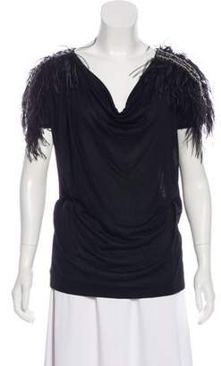 Emilio Pucci Feather-Trimmed Embellished Top