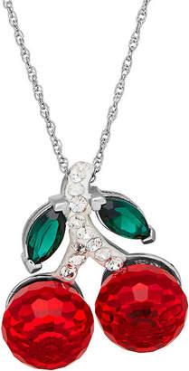 FINE JEWELRY Crystal Sterling Silver Cherry Pendant Necklace