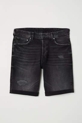 H&M Slim Denim Shorts - Black