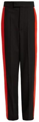 Kwaidan Editions Side Stripe Wool Twill Trousers - Womens - Black Red
