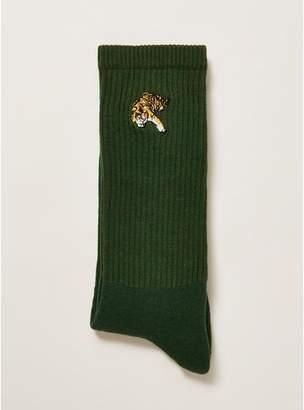 Topman Mens Green Crouching Tiger Tube Socks