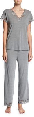 Natori Zen Floral-Trim Pajamas, Plus Size