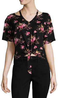 Cut And Paste Short Sleeve V Neck Floral T-Shirt-Womens Juniors