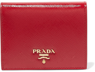 Prada - Patent Textured-leather Wallet