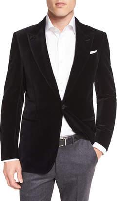 Ermenegildo Zegna Tic Velvet Single-Button Sport Coat, Dark Navy
