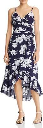Aqua Ruffled Floral Faux-Wrap Dress - 100% Exclusive