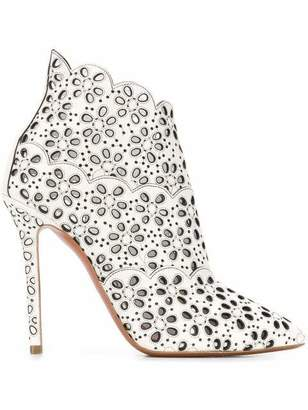Alaia Azzedine Pointed Toe Eyelet Laser Cut Boots