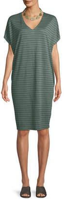 Eileen Fisher Short-Sleeve Thin-Striped Linen Dress