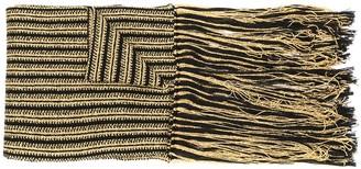 Saint Laurent striped knit fringed scarf