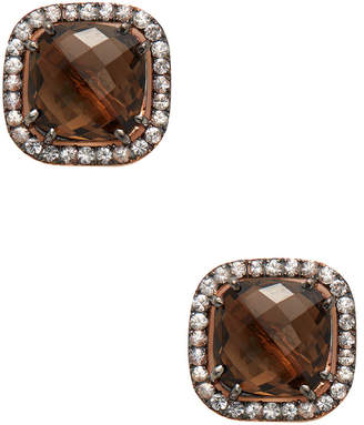 Suzanne Kalan 14K Rose Gold Sapphire & Smokey Quartz Cushion Cut Earring