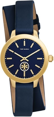 Tory Burch COLLINS WATCH DOUBLE-WRAP, NAVY/GOLD LEATHER/STAINLESS STEEL, 32 MM