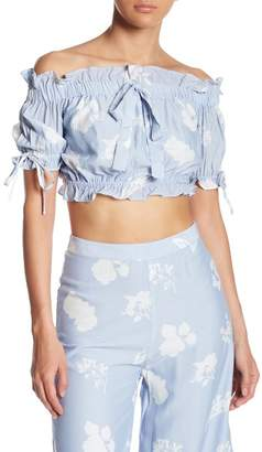 Endless Rose Ruffle Trim Off-the-Shoulder Crop Top