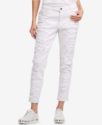 DKNY Ripped White Boyfriend Jeans