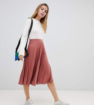 Asos DESIGN Petite pleated midi skirt in jersey crepe