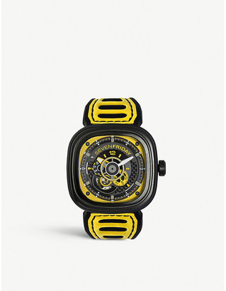 Seven Friday SFP3B03 Racing Team black PVD and leather strap watch