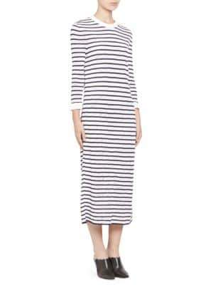 Chloé Cotton Stripe Lace Knit Long Sleeve Dress