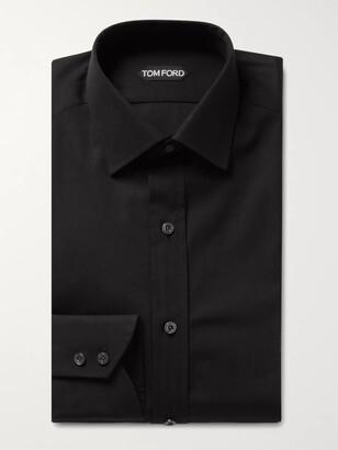 Tom Ford Black Slim-Fit Cotton-Poplin Shirt - Men - Black