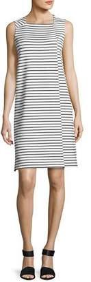 Lafayette 148 New York Sleeveless Square-Neck Striped Dress, White/Black