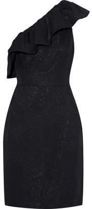Halston One-shoulder Ruffled Metallic Jacquard Mini Dress