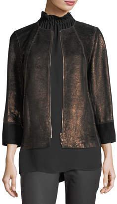 Lafayette 148 New York Garrison Velvet-Trim Shimmering Metallic Leather Jacket